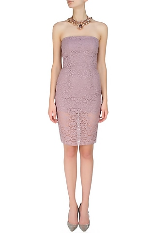 Lilac lace sheath sequence dress by Hema Kaul