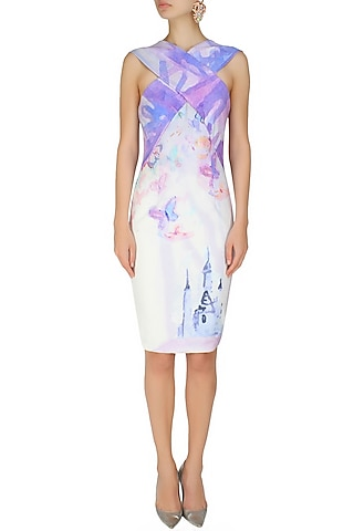 Cross over front digital print fairy tale dress by Hema Kaul