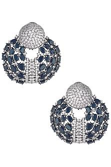 Rhodium plated sapphire onyx stoned chandbali earrings by HEMA KHASTURI LABEL