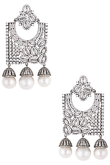 Rhodium plated diamond and pearl geometrical dangler earrings by HEMA KHASTURI LABEL