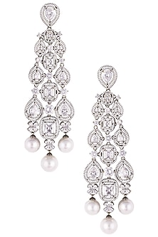 Rhodium plated diamond and pearl dangler earrings by HEMA KHASTURI LABEL