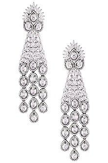 Rhodium plated diamond party wear dangler earrings by HEMA KHASTURI LABEL