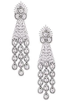 Rhodium plated diamond party wear dangler earrings by HEMA KHASTURI LABEL