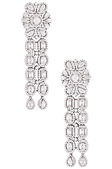 Rhodium plated diamond floral earrings by HEMA KHASTURI LABEL