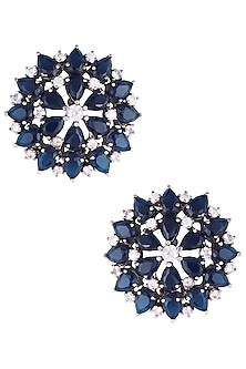 Rhodium plated sapphire onyx stoned stud earrings by HEMA KHASTURI LABEL