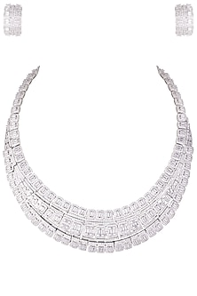 Rhodium plated 3 line baguette diamond necklace set by HEMA KHASTURI LABEL