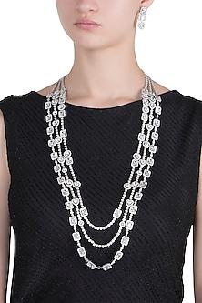 Rhodium plated 3 line baguette diamond and crystal necklace set by HEMA KHASTURI LABEL