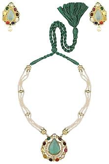 Gold Plated Navratna Stones Necklace Set by HEMA KHASTURI LABEL