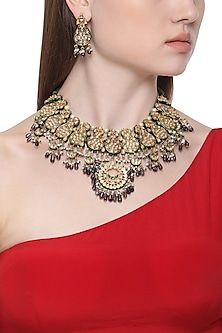 Gold Plated Kundan and Purple Stone Drops Necklace with Earrings by HEMA KHASTURI LABEL