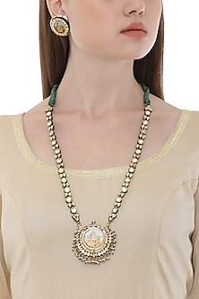 Gold Plated Goddess Motif Pendant Necklace with Earrings by HEMA KHASTURI LABEL