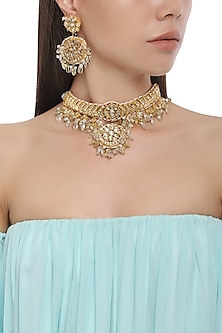 Gold Plated Kundan Stones Choker Necklace with Earrings by HEMA KHASTURI LABEL