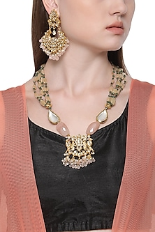 Gold Plated Kundan and Baby Pink Stone Drops Necklace with Earrings by HEMA KHASTURI LABEL
