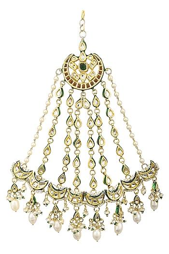Gold Plated Kundan, Pearls and Green Meena Work Passa by HEMA KHASTURI LABEL