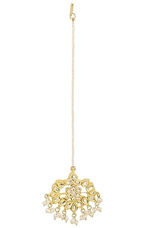 Gold Plated Kundan and Pearls Floral Maangtika by HEMA KHASTURI LABEL