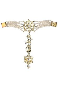 Gold Plated Kundan and Pearls Haathphool by HEMA KHASTURI LABEL