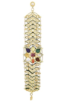 Gold Plated Kundan and Multi-Coloured Stones Bracelet by HEMA KHASTURI LABEL