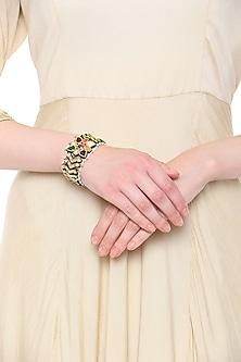 Gold Plated Kundan and Multi-Coloured Stones Bracelet by HEMA KHASTURI LABEL