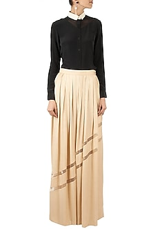 Beige Pleated Maxi Skirt by Huemn