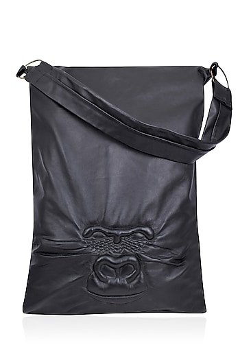 Black Handcrafted Gorilla Face Leather Boho Bag by Huemn