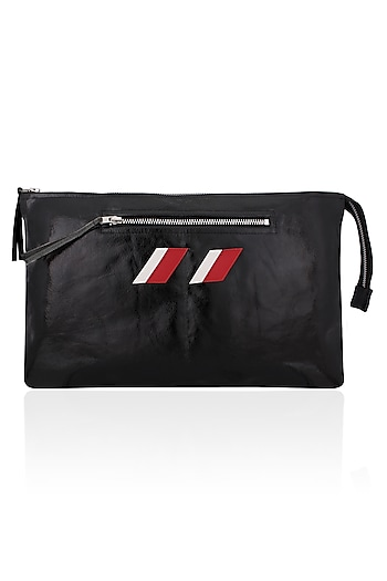 Black Logo Embroidered Leather Clutch by Huemn