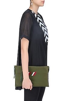 Moss Green Logo Embroidered Leather Clutch by Huemn