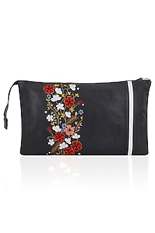 Black Floral and Logo Embroidered Leather Clutch by Huemn