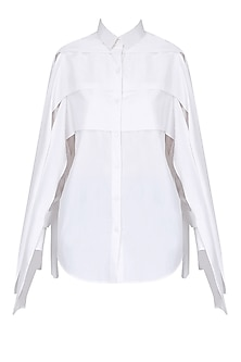White Free Panelled Mummy Shirt by Huemn Project