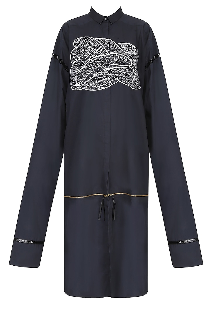 Black Snake Motif Oversized Shirt Dress by Huemn Project