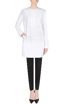 White Handdrawn Stripes Tunic/ Kurta by Huemn Project