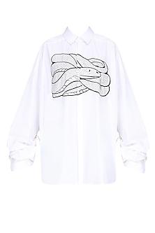 White Snake Motif Oversized Shirt by Huemn Project