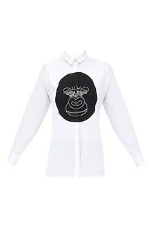 White Gorilla Applique Work Shirt by Huemn Project