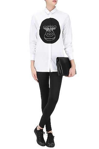 White Gorilla Applique Work Shirt by Huemn Project