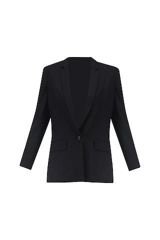 Black Front Open Blazer by Huemn Project
