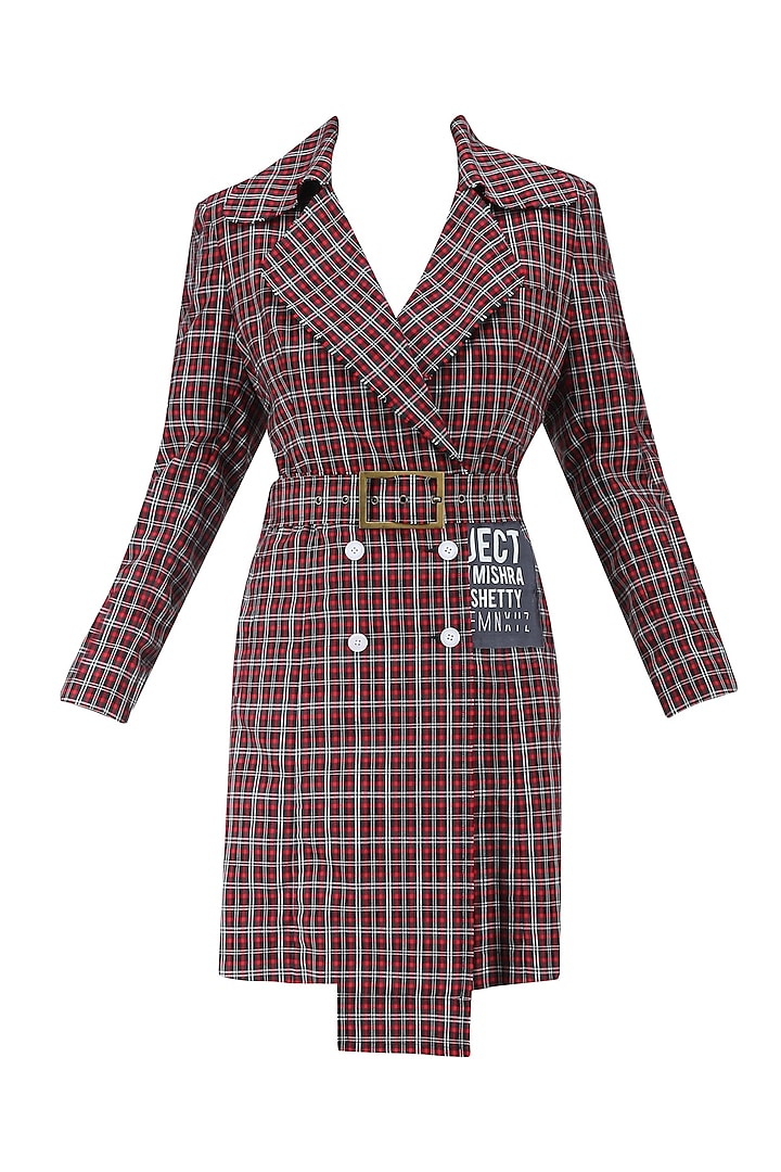 Red and Black Checkered Overcoat by Huemn Project