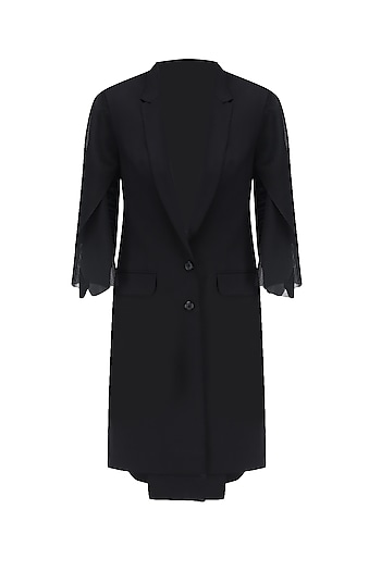 Black Overcoat with Net Sleeves by Huemn Project