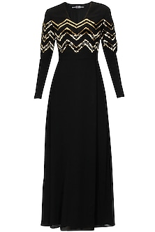 Black silk embellished chevron stripes dress by Huemn