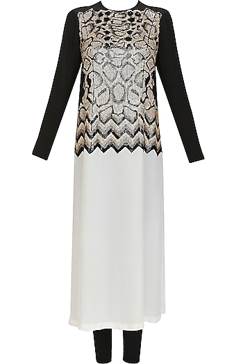 Black and white chevron snakeskin colorblocked tunic by Huemn