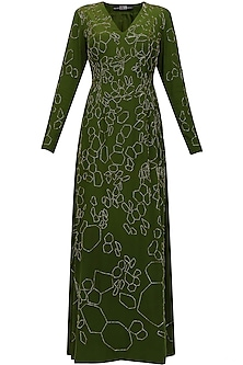 Moss green silk embellished katdana scales dress by Huemn