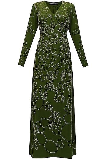 Moss green silk embellished katdana scales dress by Huemn