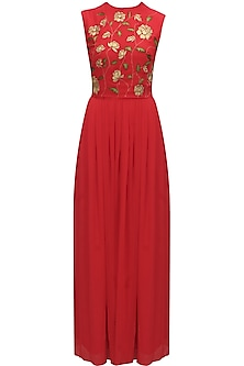 Red creeper zari flowers dress by Huemn
