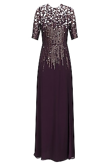 Dark Wine Sequinned 3D Floral Work Long Dress by Huemn