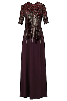 Dark Wine Sequins Embellished 3D Floral Work Long Dress by Huemn
