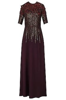Dark Wine Sequins Embellished 3D Floral Work Long Dress by Huemn