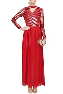 Red and Silver Sequins Embellished Maxi Dress by Huemn
