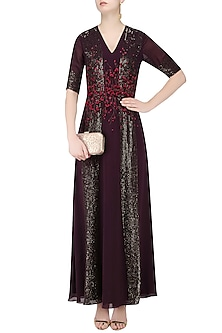 Dark Wine and Red Handcut 3D Floral Work Long Dress by Huemn