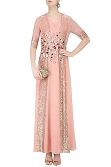 Powder Pink and Red Handcut 3D Floral Work Long Dress by Huemn