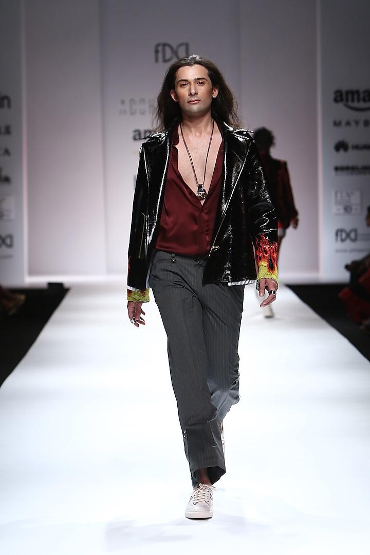 Black Flames Detailing Leather Jacket by Huemn