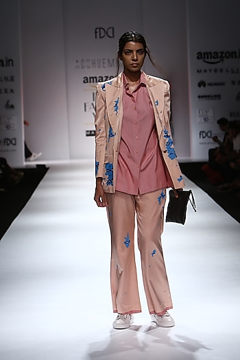 Powder Pink Torn Blue Snakeskin Detailing Suit by Huemn