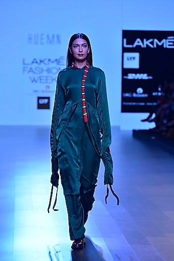 Emerald green and red sequins embroidered snake detail long shirt by Huemn