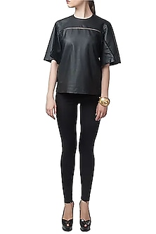 Leather Anti-Fit Tee Shirt by Huemn